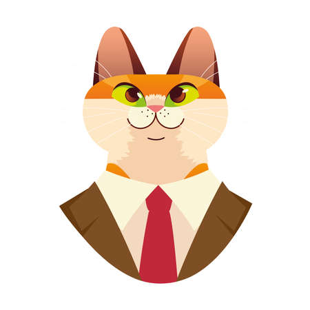 people art animal, cat dressed with suit and necktie vector illustration