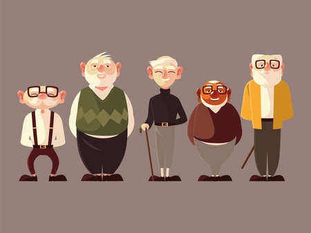 different old men character cartoon male senior vector illustration