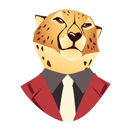 people art animal, leopard in suit vintage fashion style vector illustration