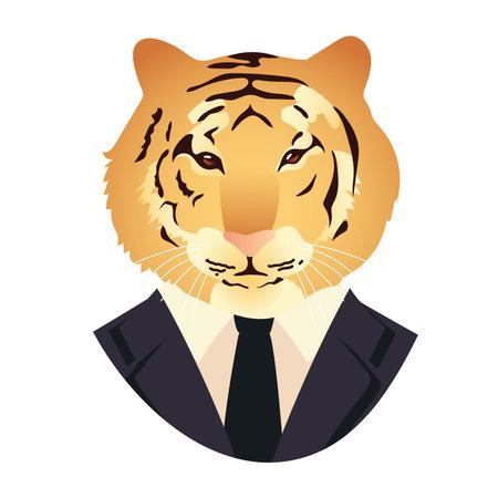 people art animal, tiger dressed in black suit and necktie vintage vector illustration Vettoriali