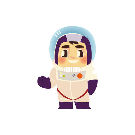 space astronaut character with spacesuit and helmet cartoon vector illustration