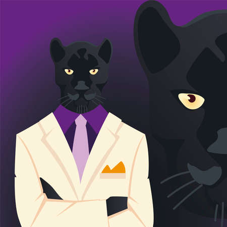people art animal, elegant panther inwhite suit and necktie, face feline black panther