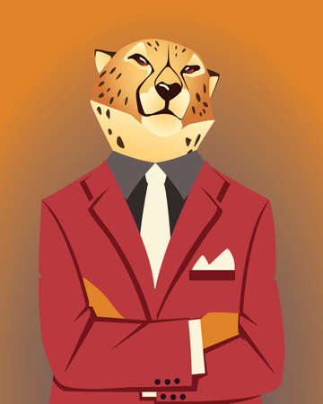 people art animal, leopard in suit vintage fashion style vector illustration