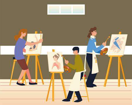 paint class, men and woman painting on canvas at easel