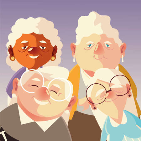 senior people, cute group grandpa and grandmothers characters cartoon