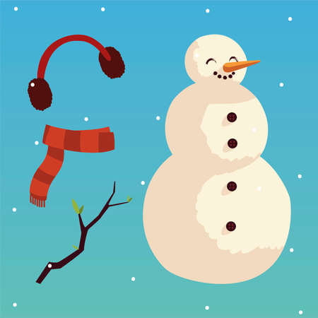 merry christmas snowman scarf earmuffs and branch icons set vector illustration