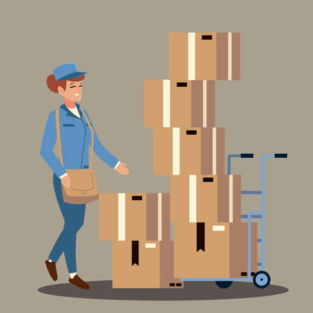 postal service female worker with stacked boxes in cart vector illustration
