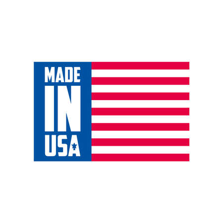 Made in usa striped banner design, American quality business and national theme Vector illustration
