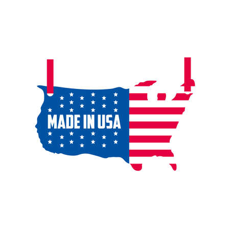 Made in usa flag map design, American quality business and national theme Vector illustration