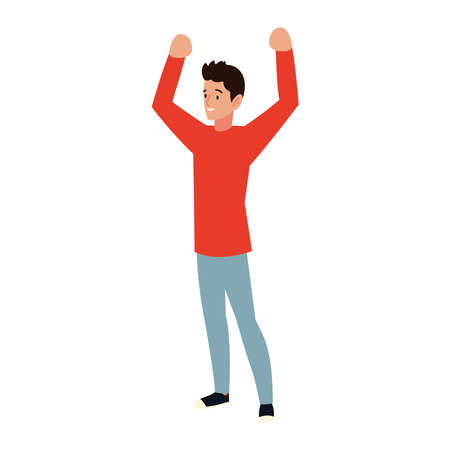 man happy celebrating on white background vector illustration