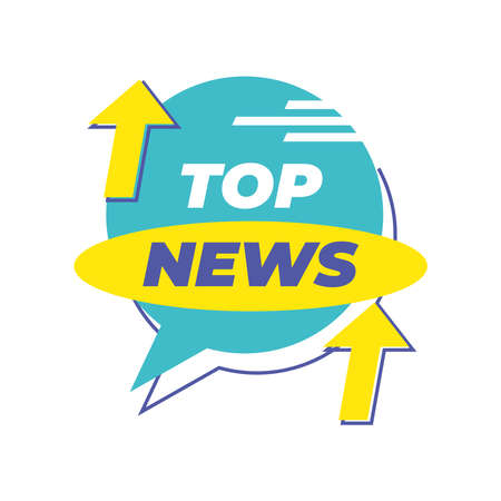 top news banner with arrows design, Technology channel communication and tv theme Vector illustration