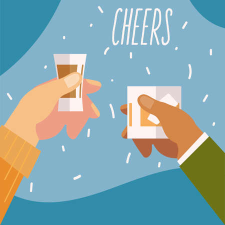 hands with whiskey and tequila alcohol, cheers vector illustration
