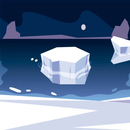 iceberg north pole melting sea night scene