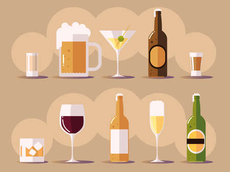 set icons with wine champagne beer botlles, cups with drinks vector illustration
