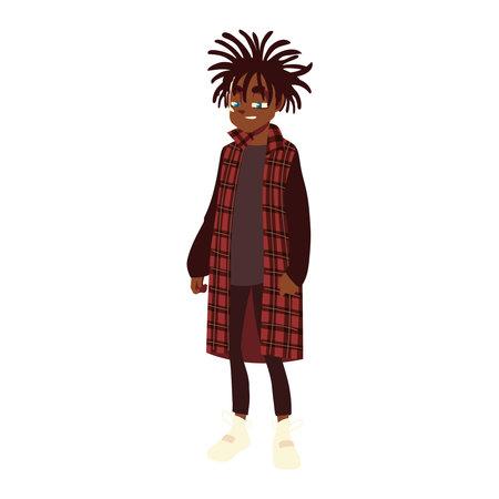 boy with long dreadlocks fashionable clothes, young culture vector illustration Ilustração
