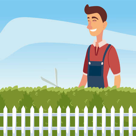 gardening, man trimming a bush or tree with big clippers vector illustration
