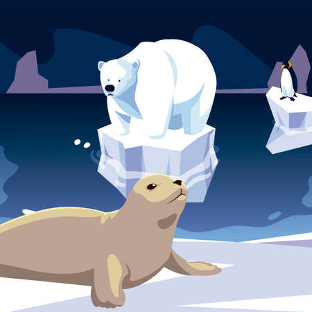 seal and polar bear animals north pole iceberg vector illustration