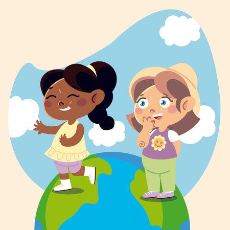 cute little girls standing on planet cartoon, children vector illustration Ilustración de vector