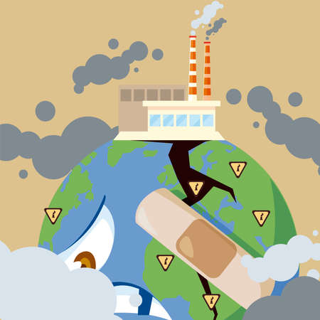 sad earth planet with factories producing smog, pollution vector illustration