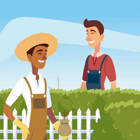 gardening, man trimming a bush with clippers and gardener with plant vector illustration
