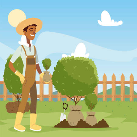 gardening, man with shovel working in the garden and digs ground vector illustration