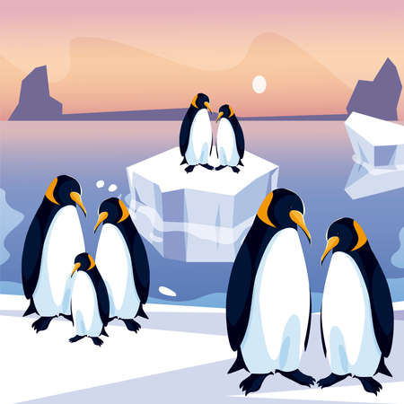 penguins group in iceberg north pole sea panoramic vector illustration