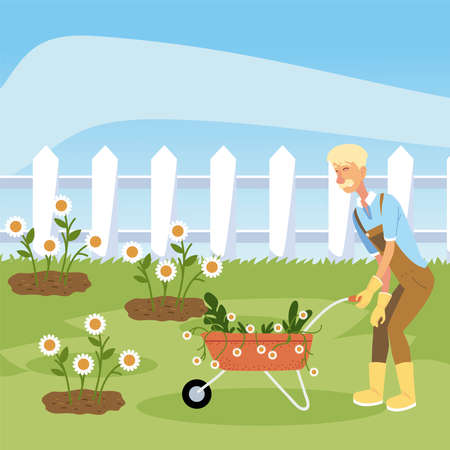 gardening, gardener with wheelbarrow planting flowers vector illustration
