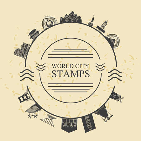 World city stamps design, Travel tourism and tour theme Vector illustration