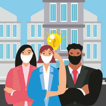 business people thinks new creative idea for market vector illustration