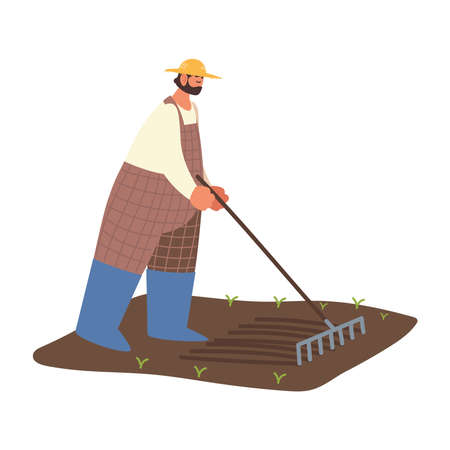 farm and agriculture farmer to loosen the soil before planting vector illustration