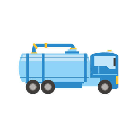 fracking truck and chemical tank and pipe vector illustration