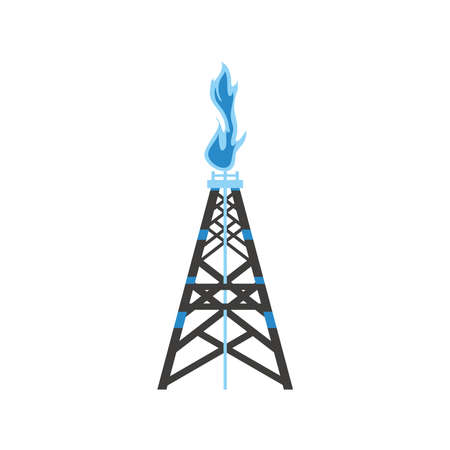 fracking tower gas and oil rig industry vector illustration