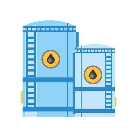 fracking oil tank storage in refinery industry vector illustration