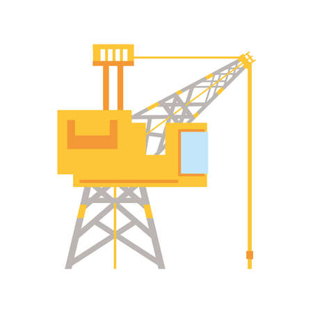 fracking tower with cabin and oil drill vector illustration