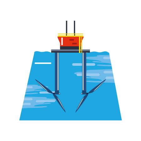 renewable energy tidal turbine generator vector illustration
