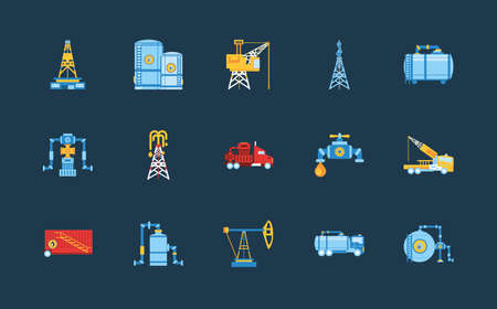 fracking oil industry fuel technology power industrial production and petroleum icons vector illustration
