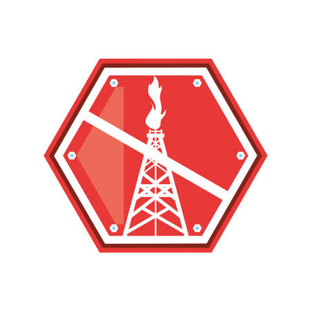 fracking forbidden industrial extraction resource vector illustration Vektorgrafik