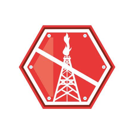fracking forbidden industrial extraction resource vector illustration