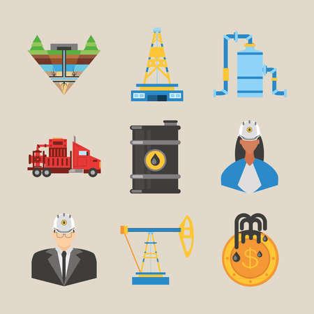 fracking, tower oil rig truck barrel and workers icons vector illustration Vektorgrafik
