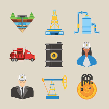 fracking, tower oil rig truck barrel and workers icons vector illustration
