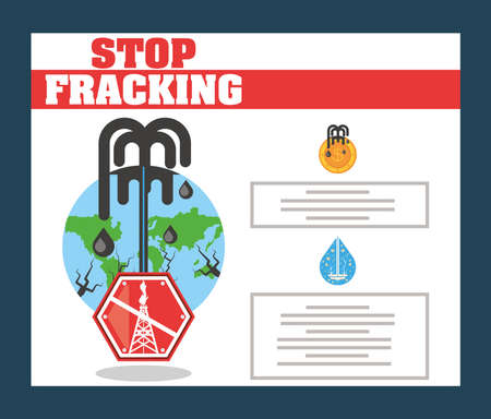 stop fracking drill rig, hydraulic fracturing process vector illustration