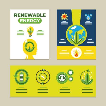 renewable energy infographic ecology, sustainable development vector illustration