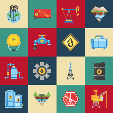 fracking oil extraction hydraulic technology icons vector illustration