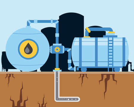 fracking oil industry machinery pump and pipeline exploration vector illustration