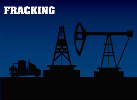fracking oil rig drilling equipment and truck silhouette vector illustration