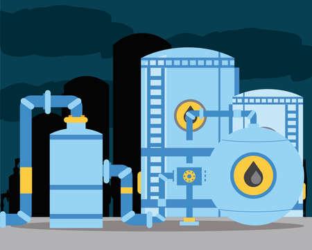 fracking oil tanks pipeline storage in refinery industry vector illustration
