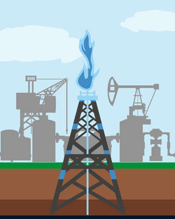 fracking tower gas and oil rig industry exploration vector illustration