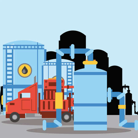 fracking truck oil tank storage refinery industry vector illustration