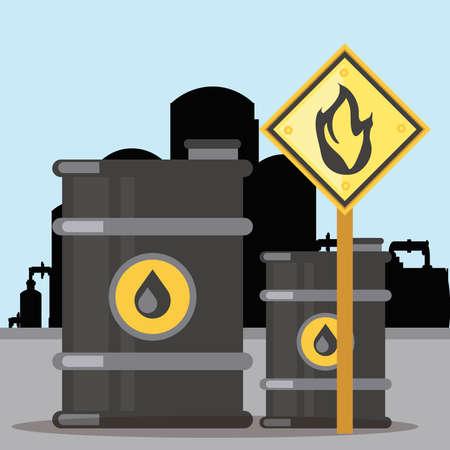 fracking extraction oil barrel tanks flammable substance sign vector illustration