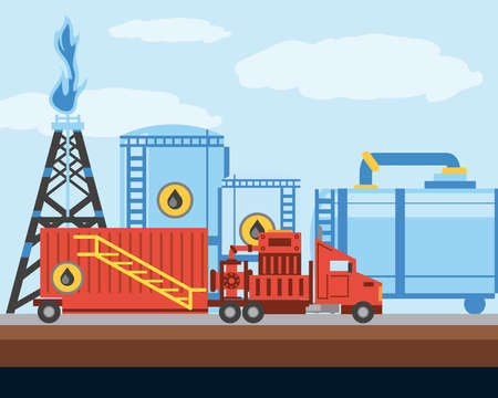 fracking tower oil and gas drilling industry truck and tanks vector illustration